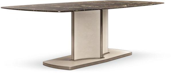 Cantori tavolo Voyage, base pelle saffiano lino; piano marmo mistic brown con dettagli in Bronzo