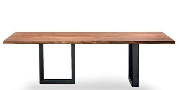 Cattelan Italia tavolo Sigma Base-metallo verniciato trasparente Top-noce Canaletto