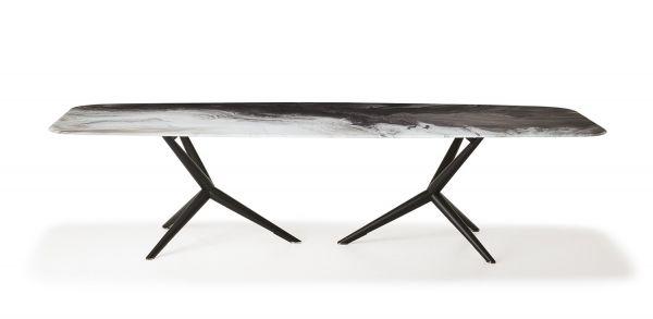 Cattelan Italia tavolo Atlantis CrystalArt, base in acciaio verniciato goffrato nero; Piano in CrystalArt