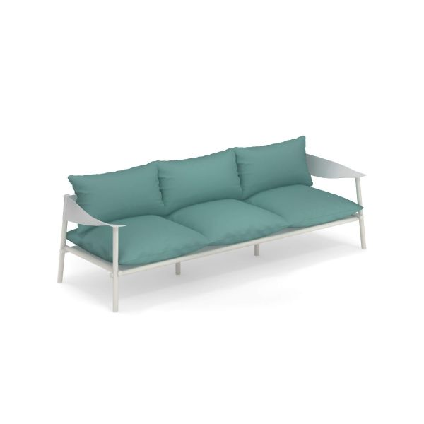 Emu divano 3 posti Terramare, struttura bianco opaco-bianco; cuscino turchese
