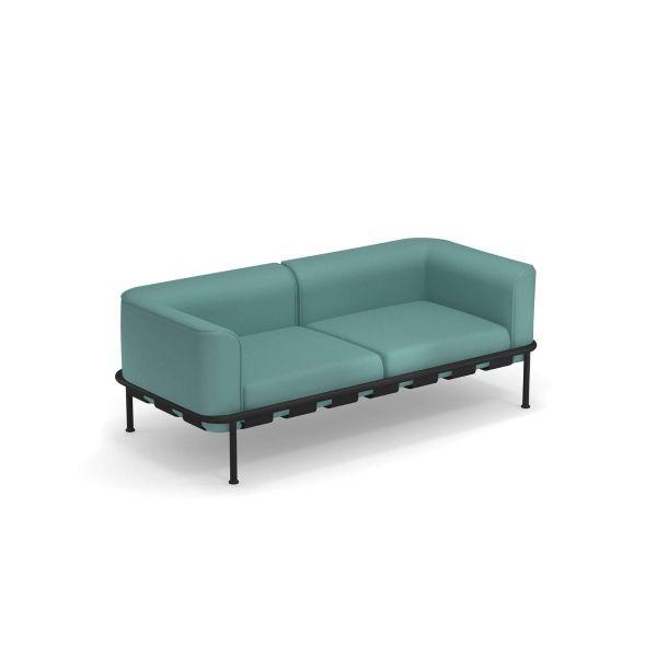 Emu divano 2 posti Dock, colore nero, cuscini Turchese