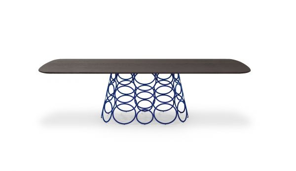 Bonaldo tavolo Hulahoop Base-finitura base verniciato opaco blu; Top-rovere spaz. grigio antracite