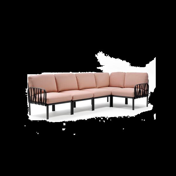 Nardi divano Komodo 5, struttura antracite; cuscino rosa quarzo