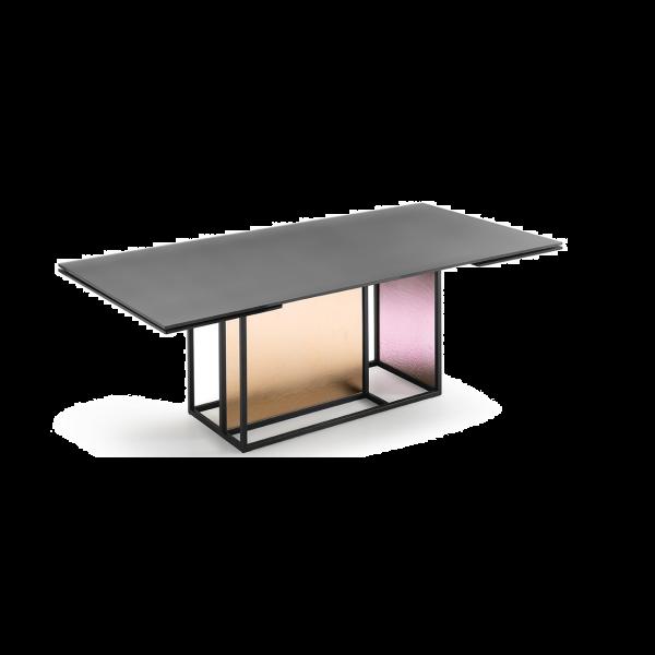 Fiam tavolo allungabile Theo, base con vetro semi-trasparente ambra + rosa antico; piano in vetro ricoperto in Ecomalta calce