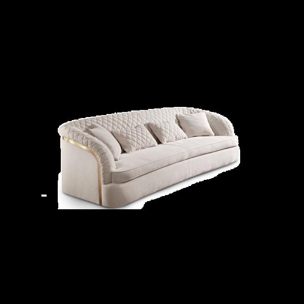 Cantori divano Portofino, con rivestimento interno ed esterno in velluto Aston avorio; dettagli in Oro Pallido